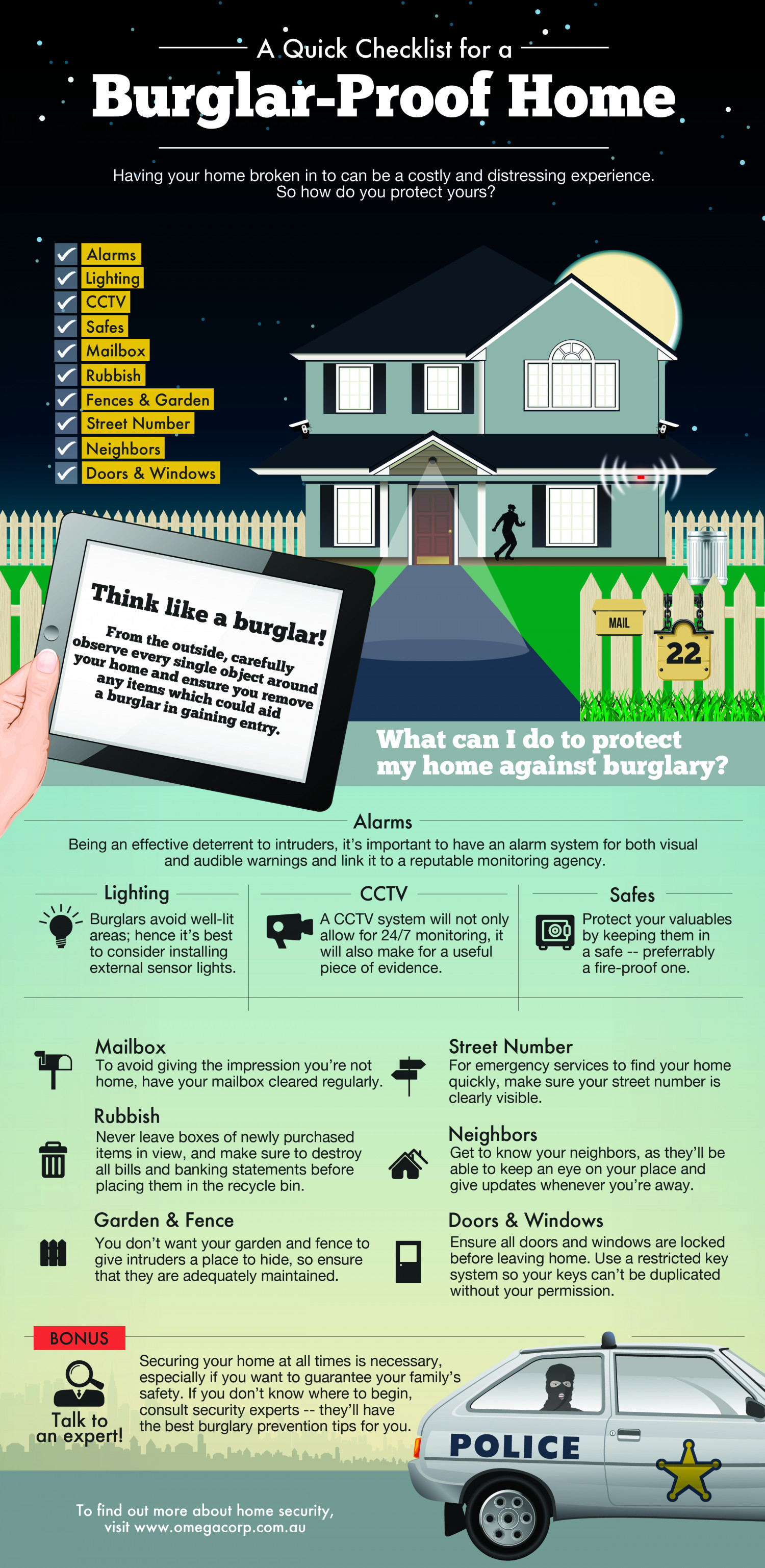 A Quick Checklist For A Burglar Proof Home Infographic