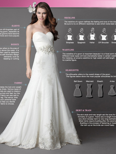 A Simple Infographic On The Anatomy of A Wedding Dresses Infographic