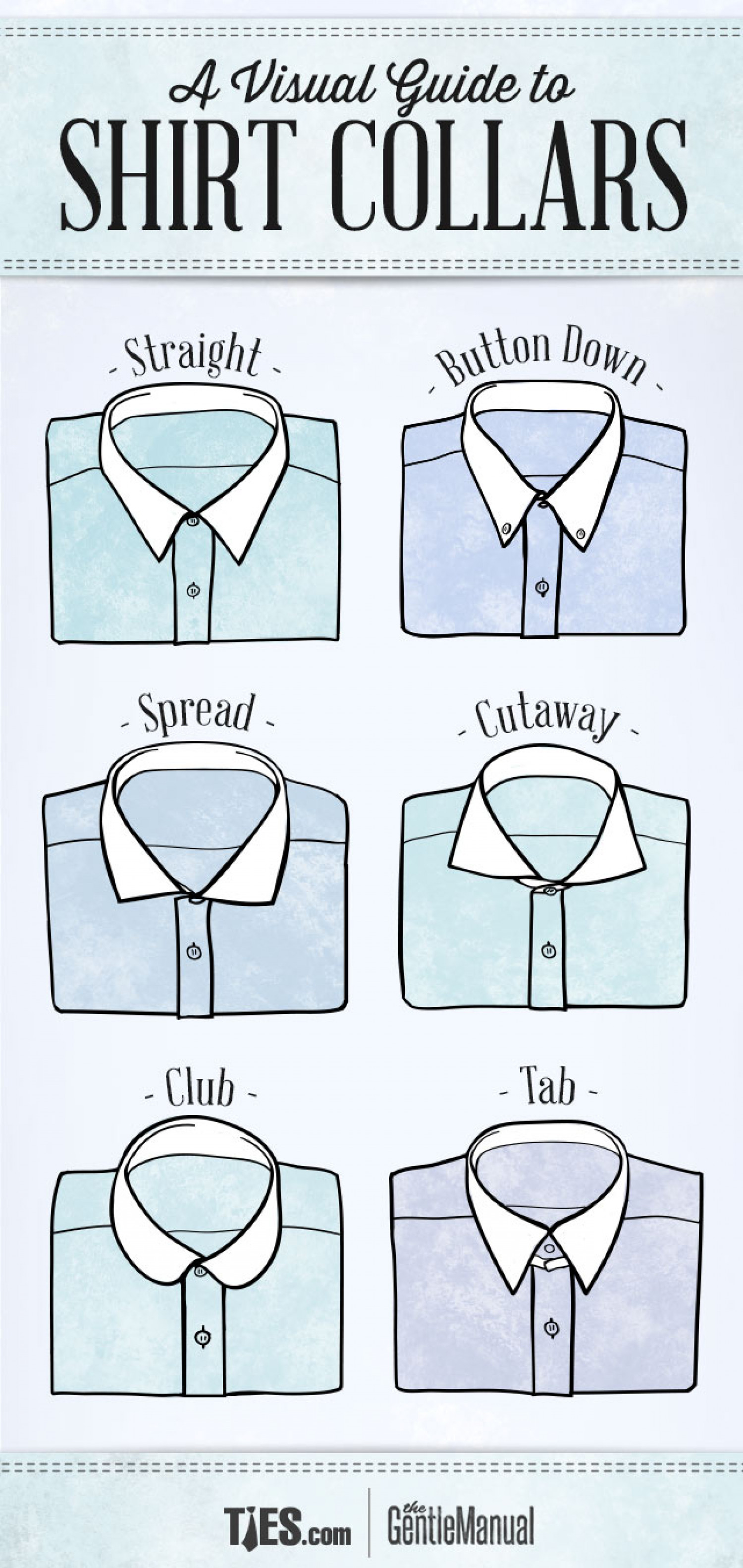 A Visual Guide To Shirt Collars Infographic