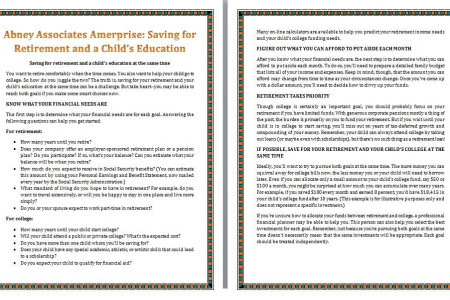 Abney Associates Ameriprise: Saving for Retirement and a Child's Education Infographic