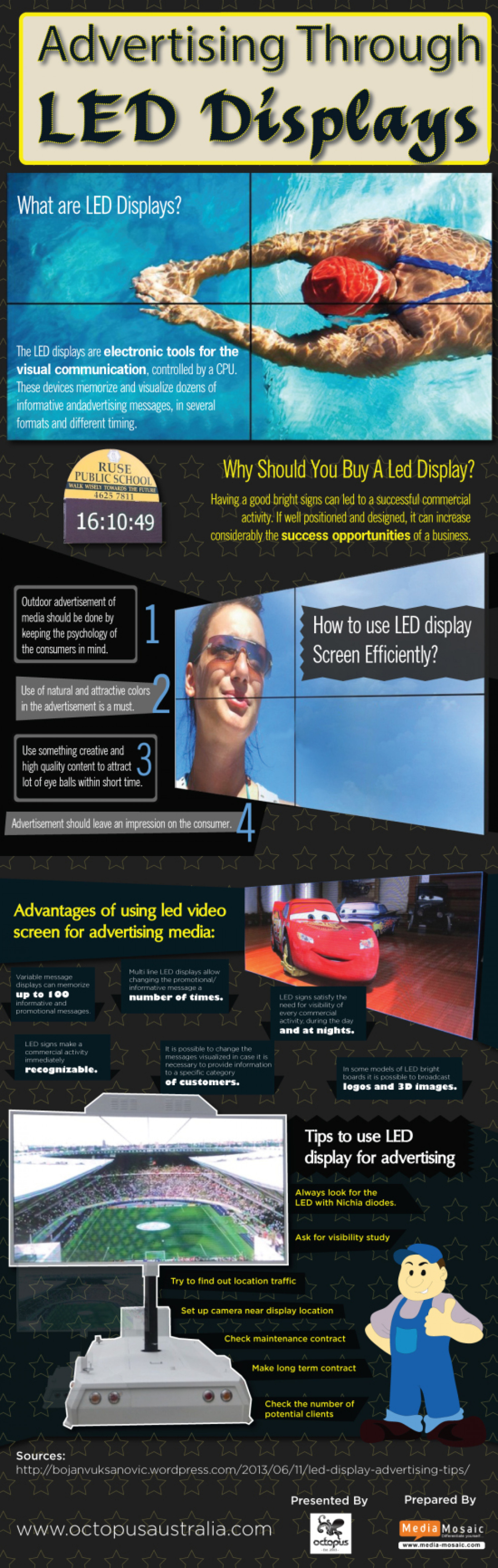 Advertising Through LED Displays Infographic