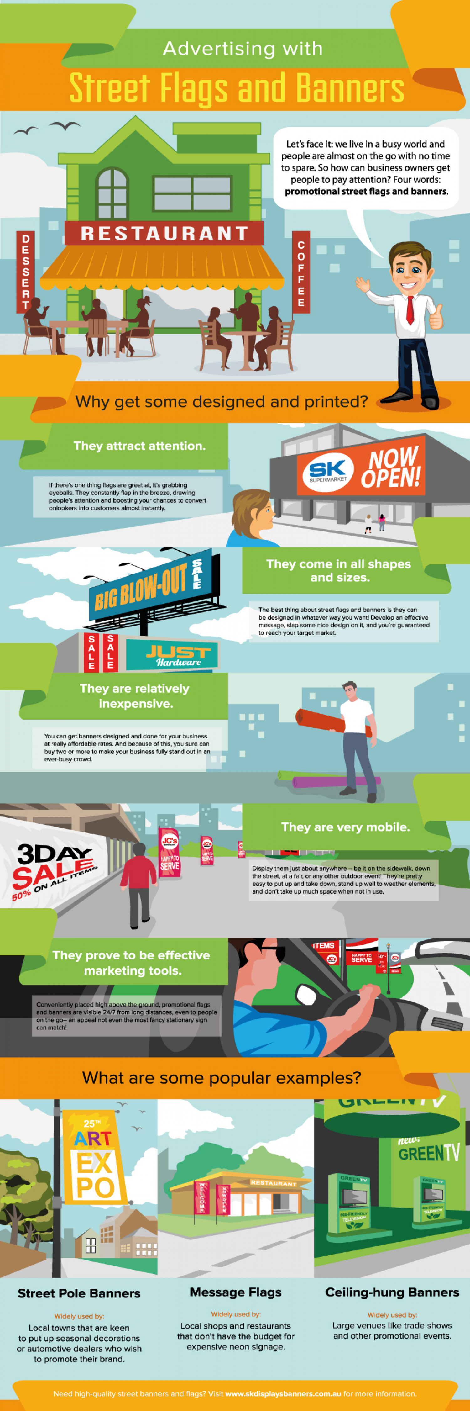 Advertising with Street Flags and Banners Infographic