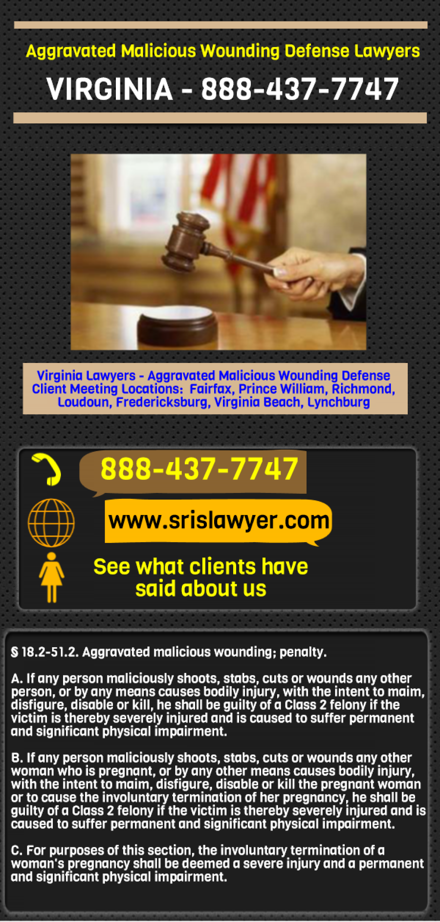 Aggravated Malicious Wounding Lawyers Virginia Fairfax Alexandria Infographic