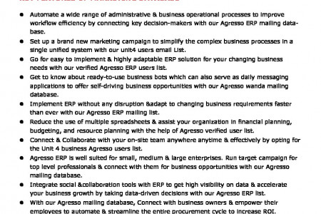 Agresso ERP Users Email List   Unit4 Users Email List  Infographic