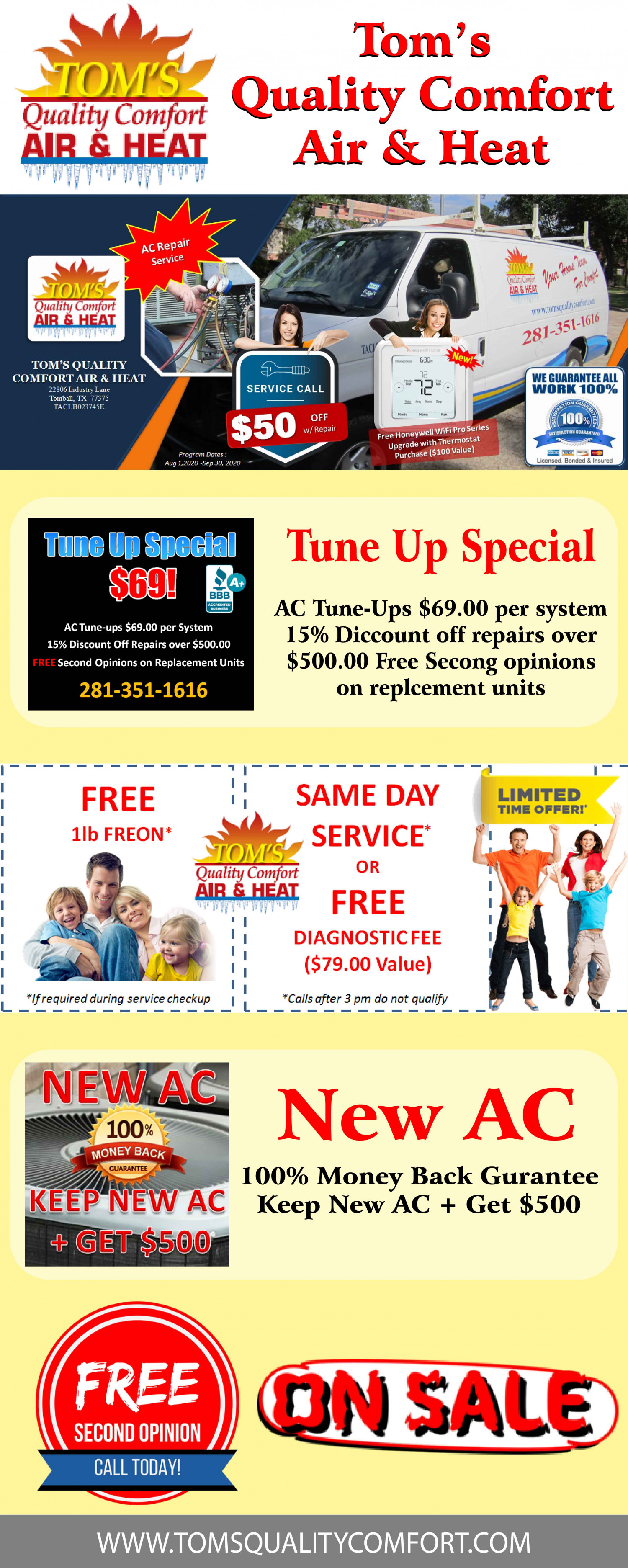 Air Conditioning Repair Tomball TX | Tom's Quality Comfort Infographic