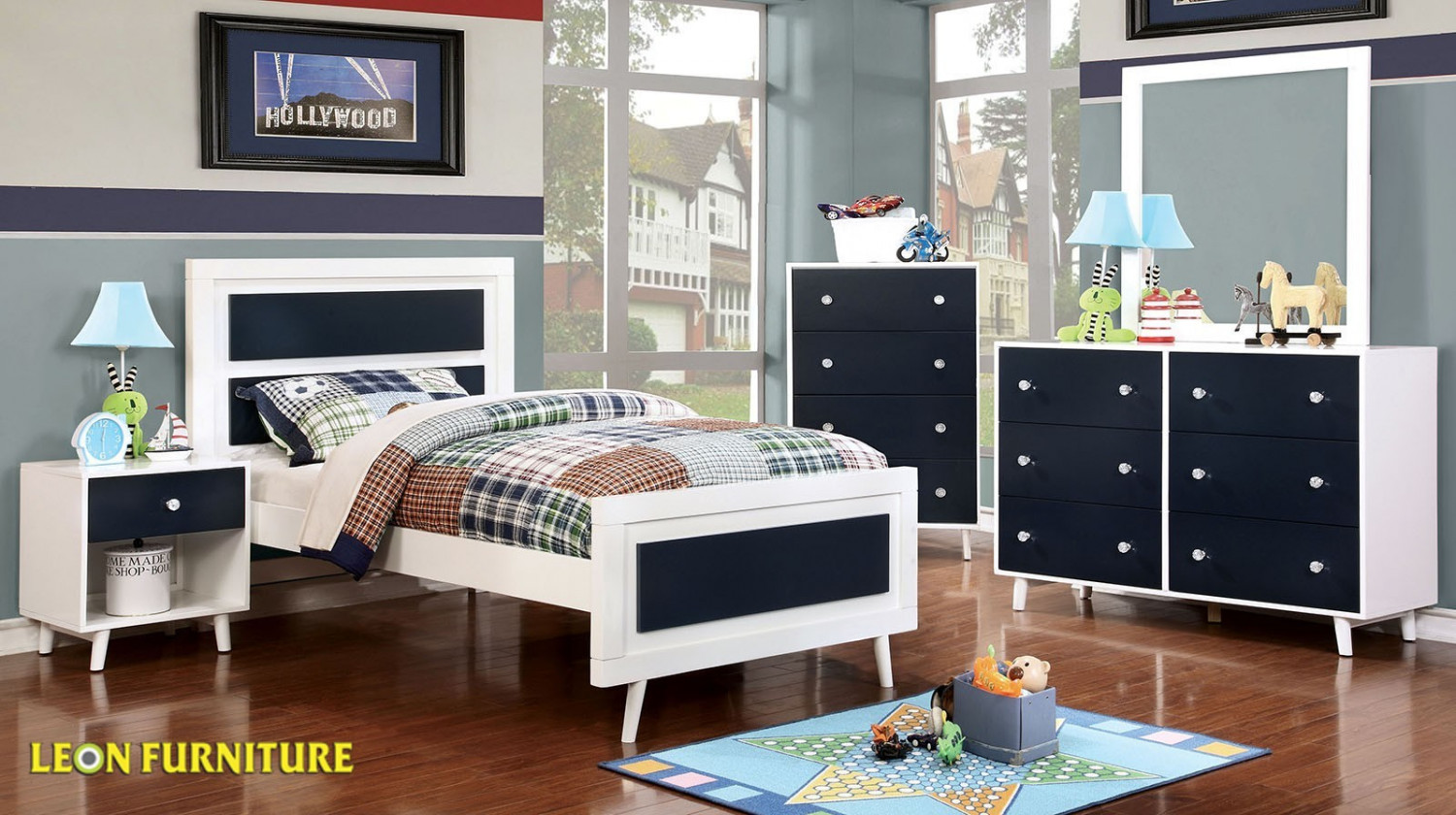 Alivia -Blue/White 5PC Twin Bedroom Collection Infographic