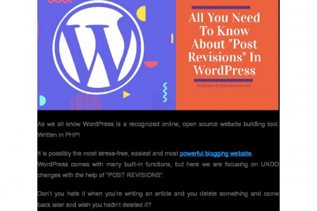 """All You Need To Know About """"Post Revisions"""" In WordPress Infographic"""
