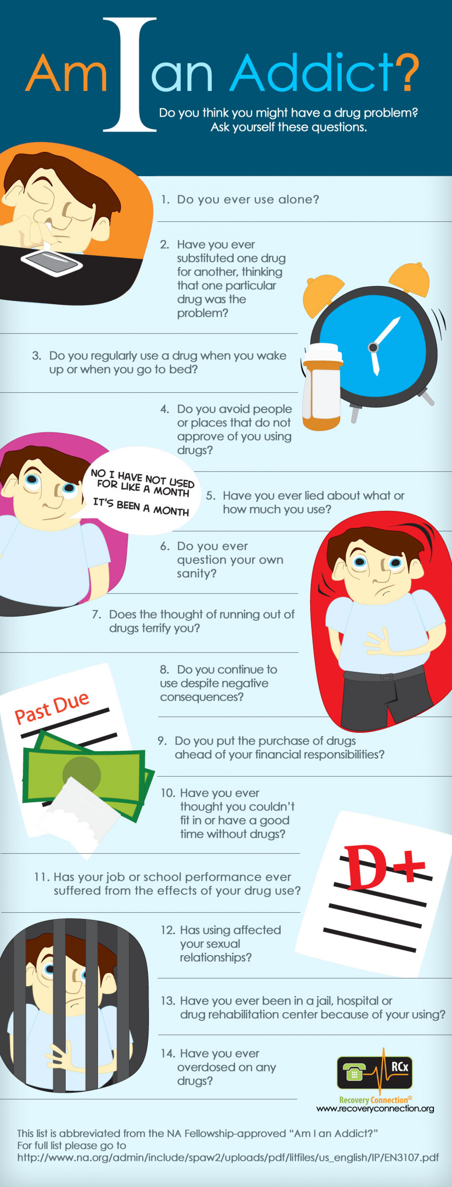 Am I a Drug Addict - Signs of Addiction Infographic