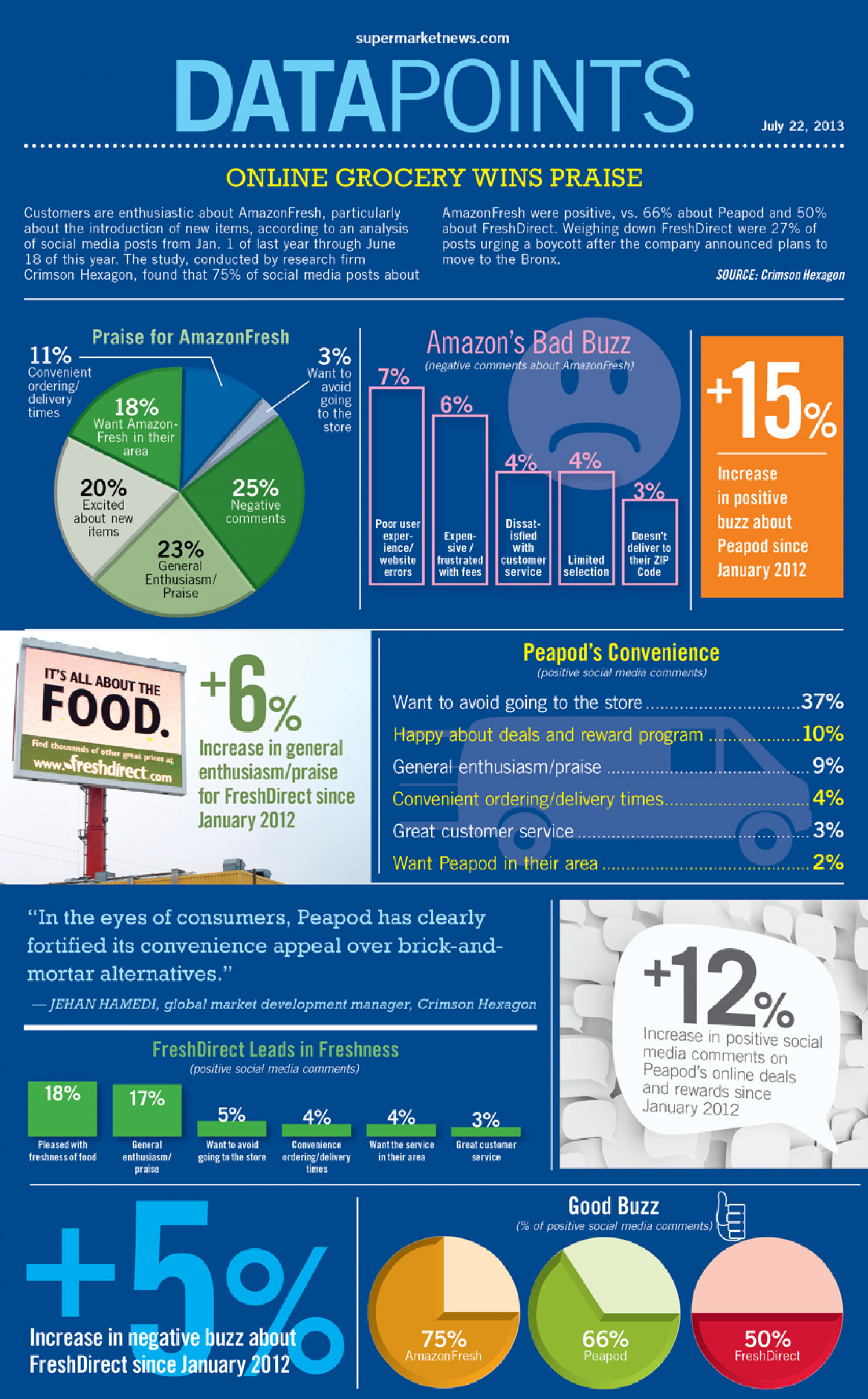 Amazon - Online Grocery Wins Praise Infographic