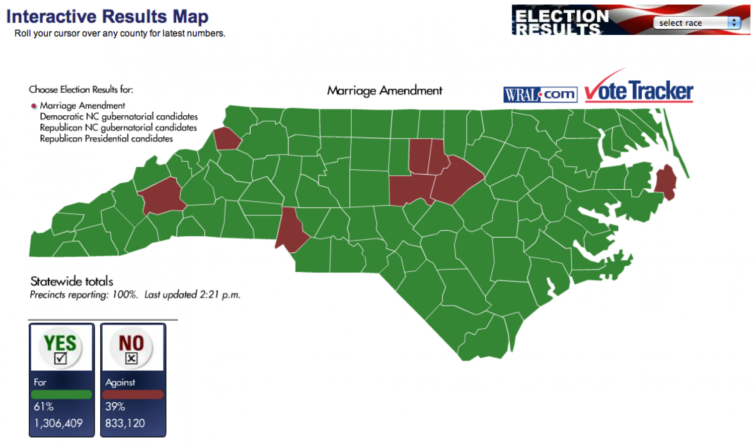 Amendment One Interactive Results Map Infographic