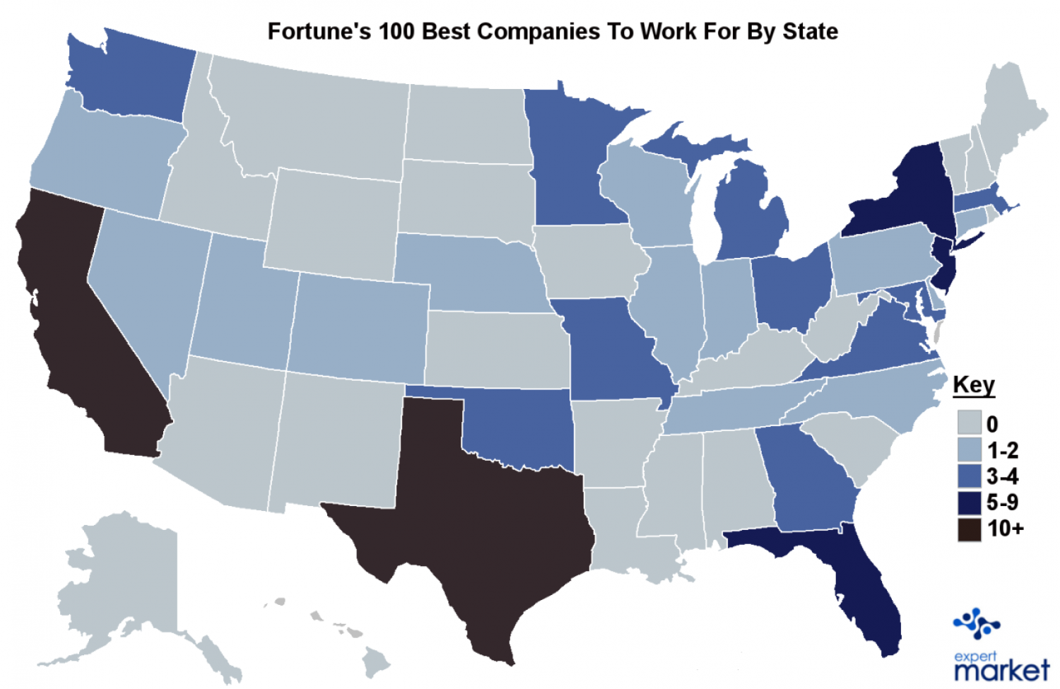 America's 100 Best Companies to Work for by State Infographic