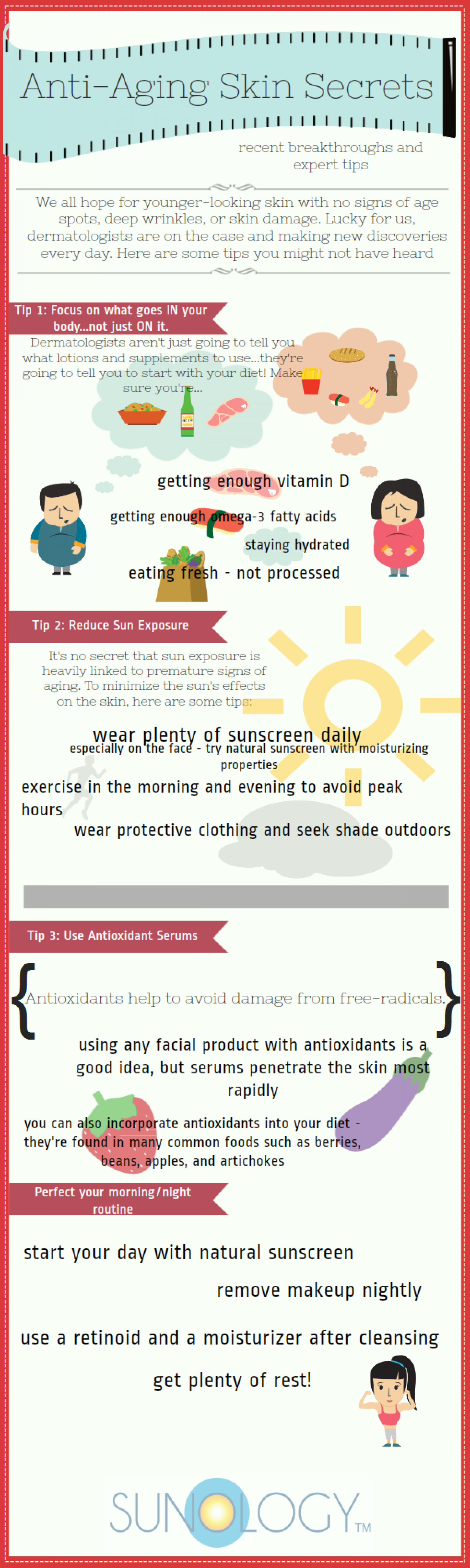 Anti-aging skin secrets Infographic