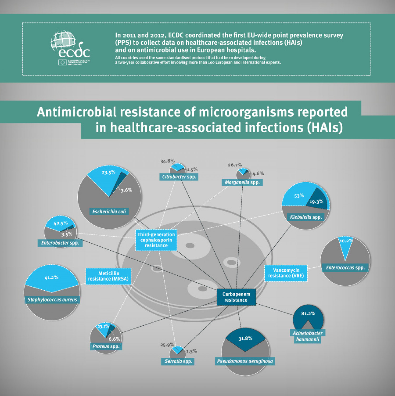 Antimicrobial resistance in European Hospitals Infographic