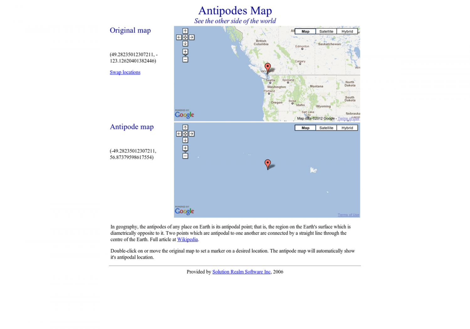 Antipodes Map Infographic