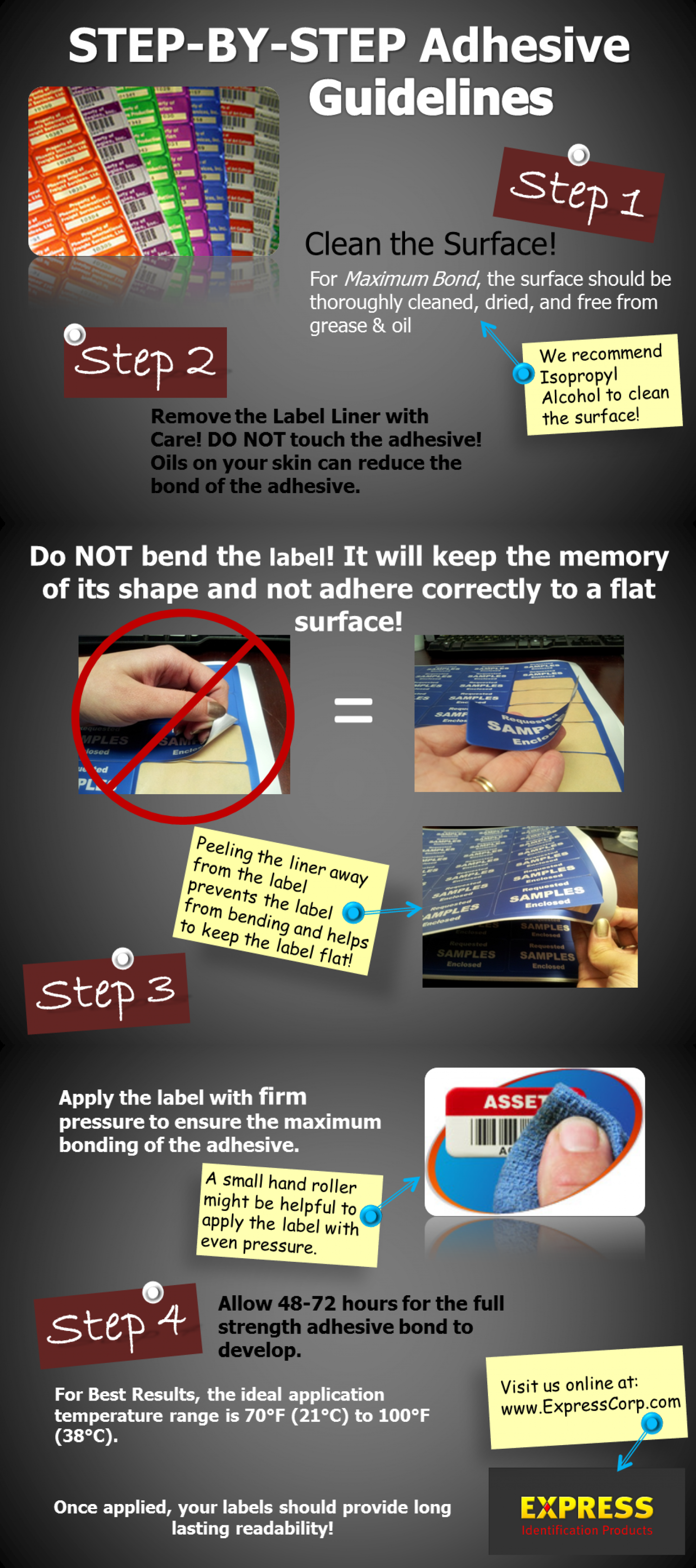 Applying Adhesive Labels | Step-by-Step Adhesive Guidelines Infographic