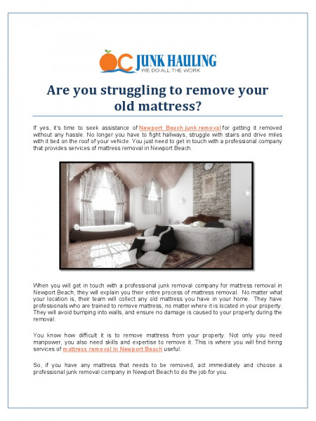 Are you struggling to remove your old mattress? Infographic