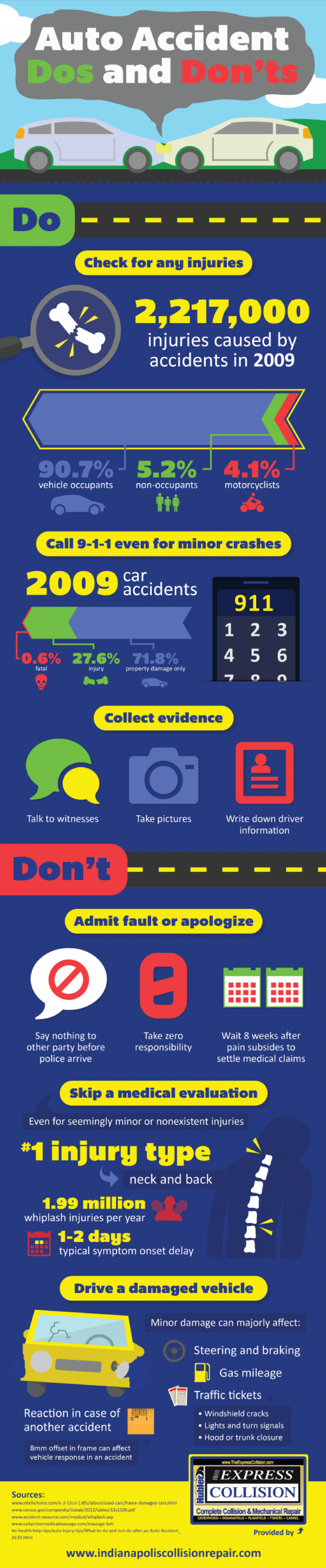 Auto Accident Dos and Don'ts Infographic