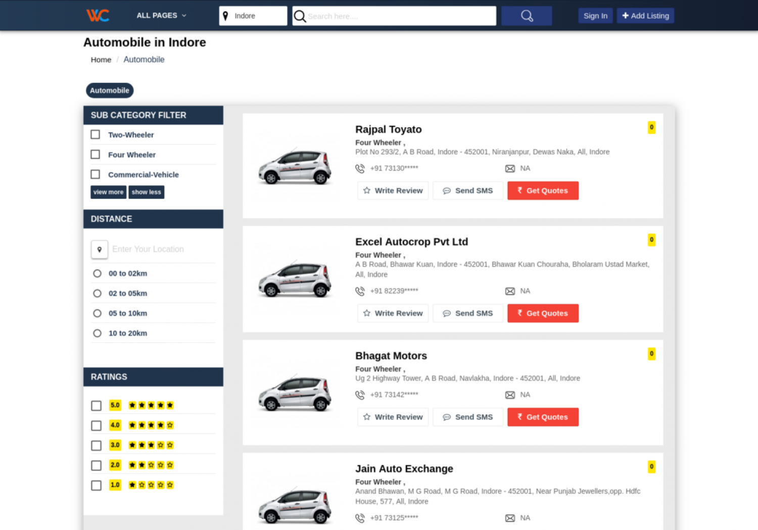 Automobile dealers of your city, listed with Work at Click.  Infographic