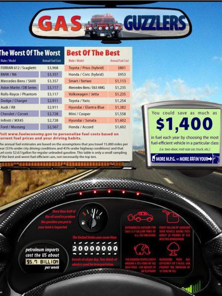 Automobile Fuel Economy and Costs Infographic