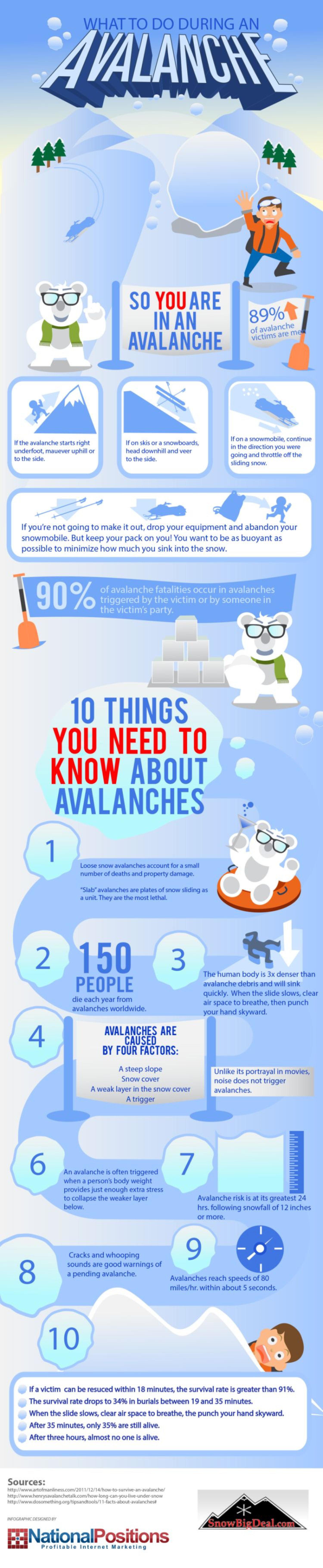 What to do During an Avalanche Infographic