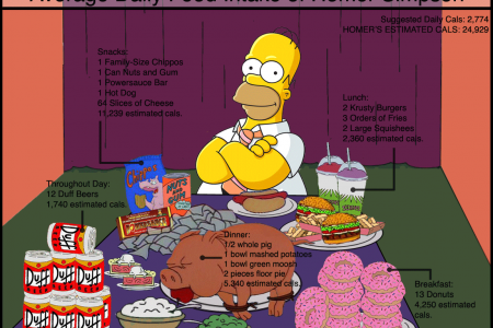 Average Daily Food Intake of Homer Simpson Infographic