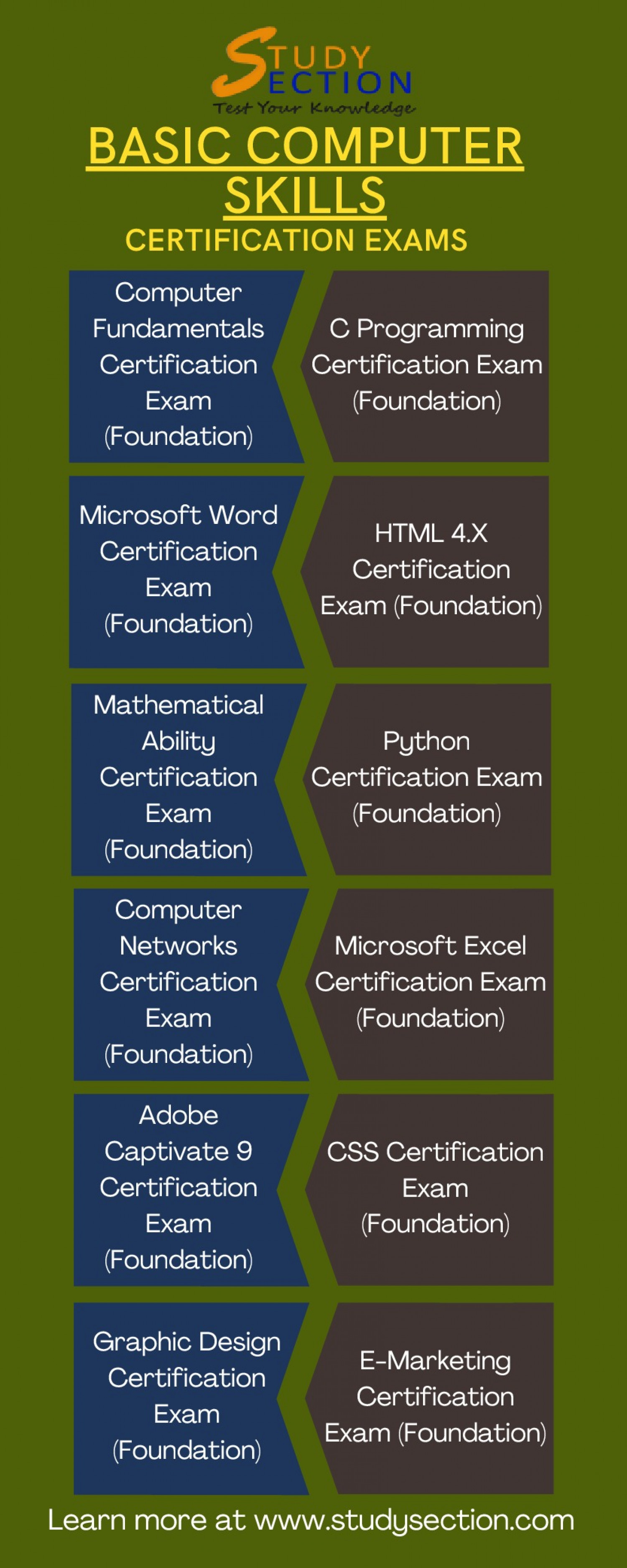 Basic Computer Skills Certification Exams   Students   Online Quiz Infographic