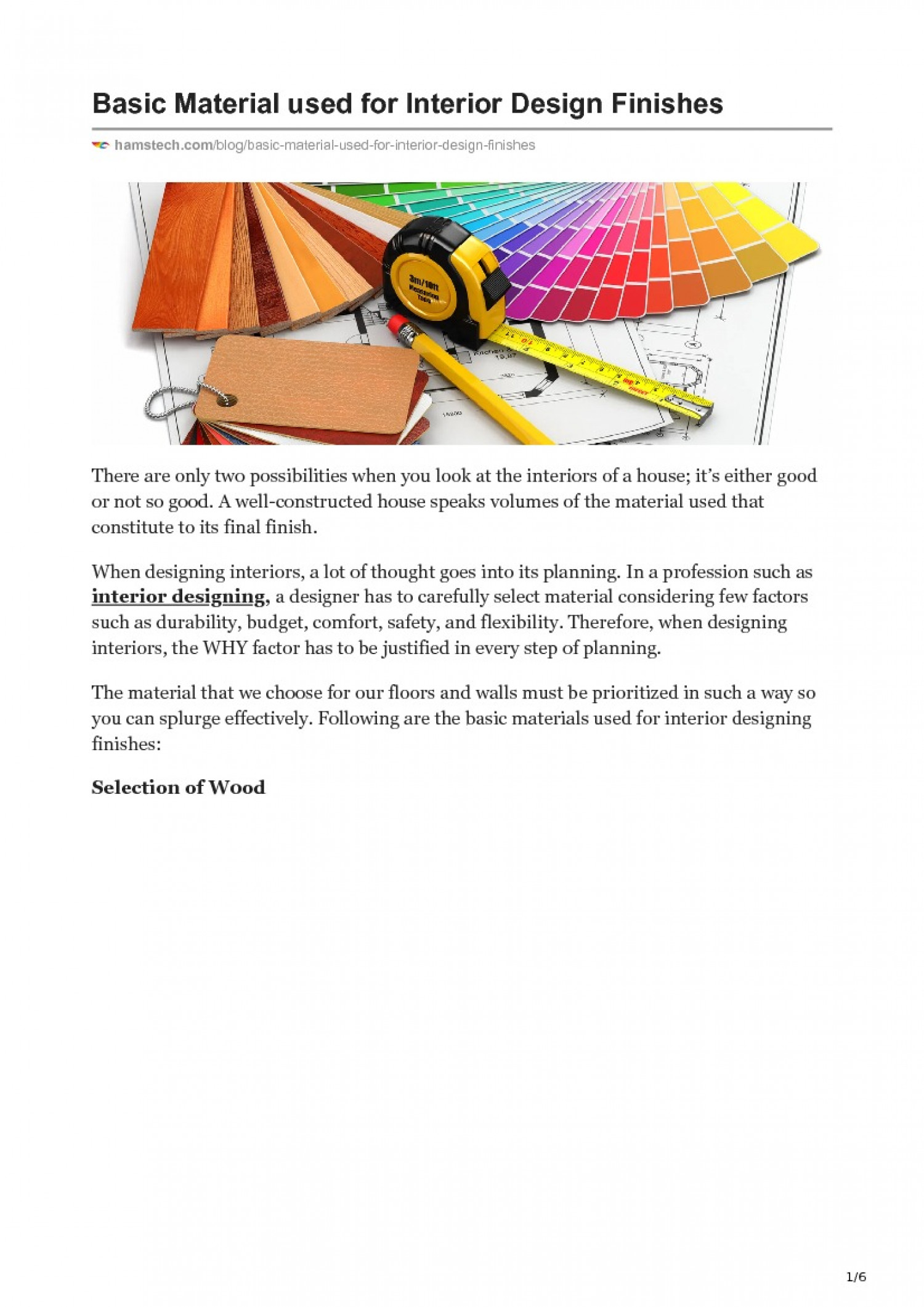 BASIC MATERIAL USED FOR INTERIOR DESIGN FINISHES Infographic