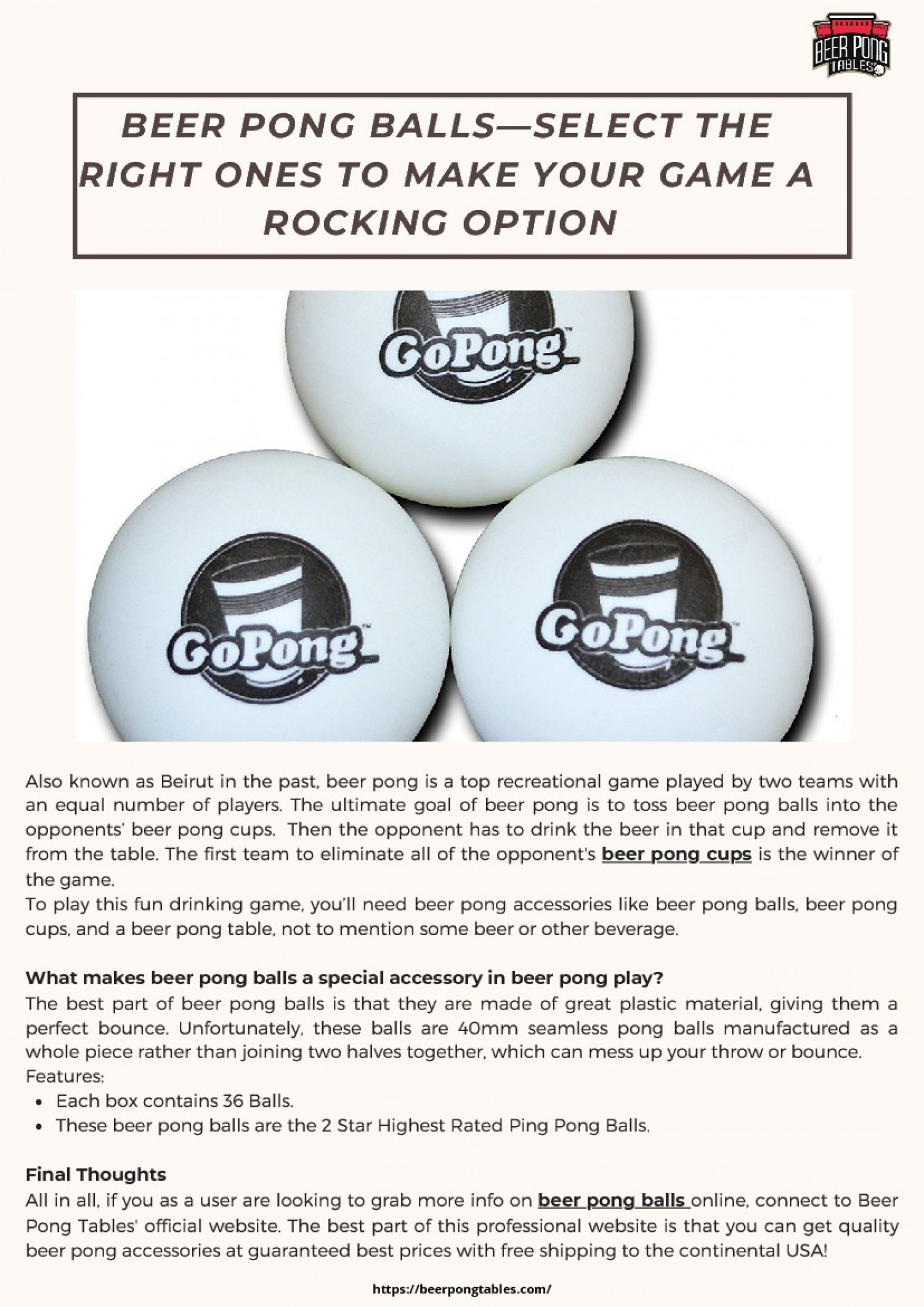Beer Pong Balls—Select the Right Ones to make your Game a Rocking Option  Infographic