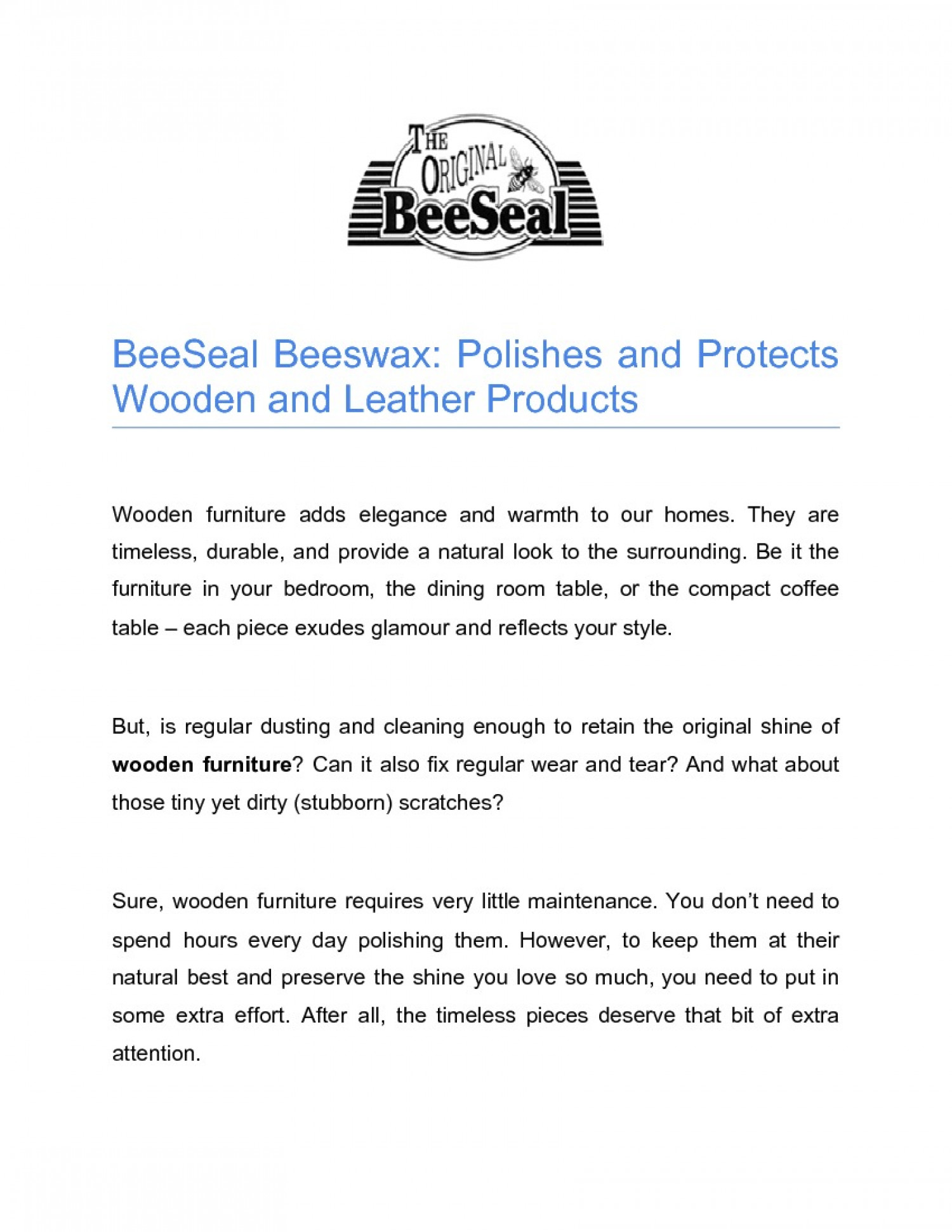 BeeSeal Beeswax: Polishes and Protects Wooden and Leather Products Infographic