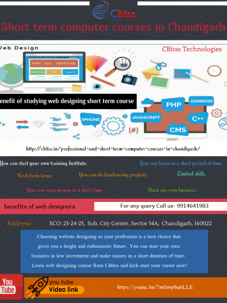 benefit of studying web designing Short term computer courses in Chandigarh Infographic