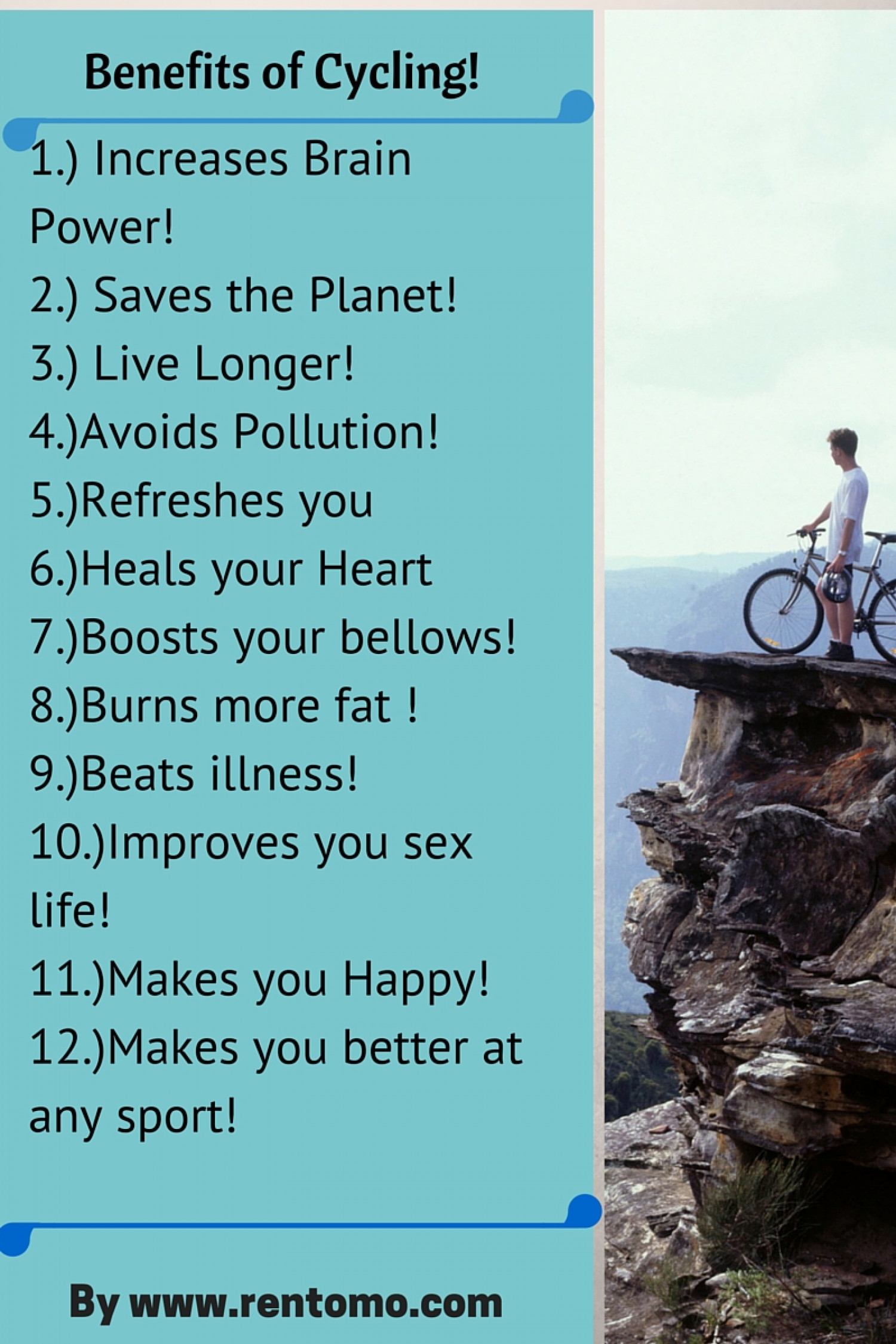 benefits of cycling by www.rentomo.com Infographic
