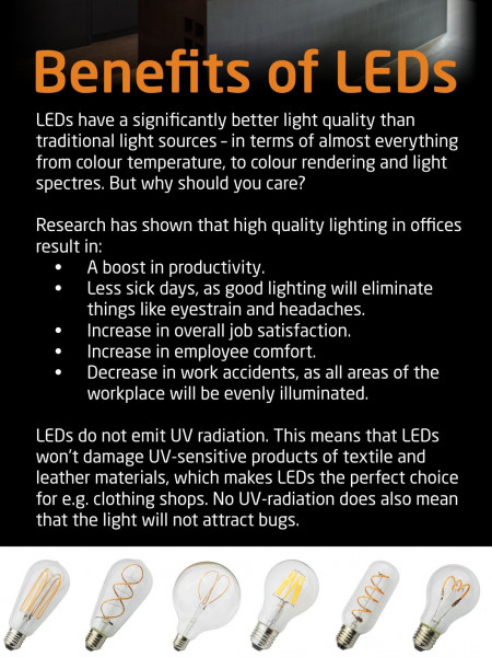 Benefits of LED Energy Efficient Lighting Infographic