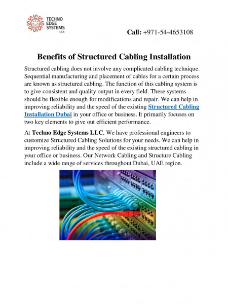 Benefits of Structured Cabling Installation Infographic