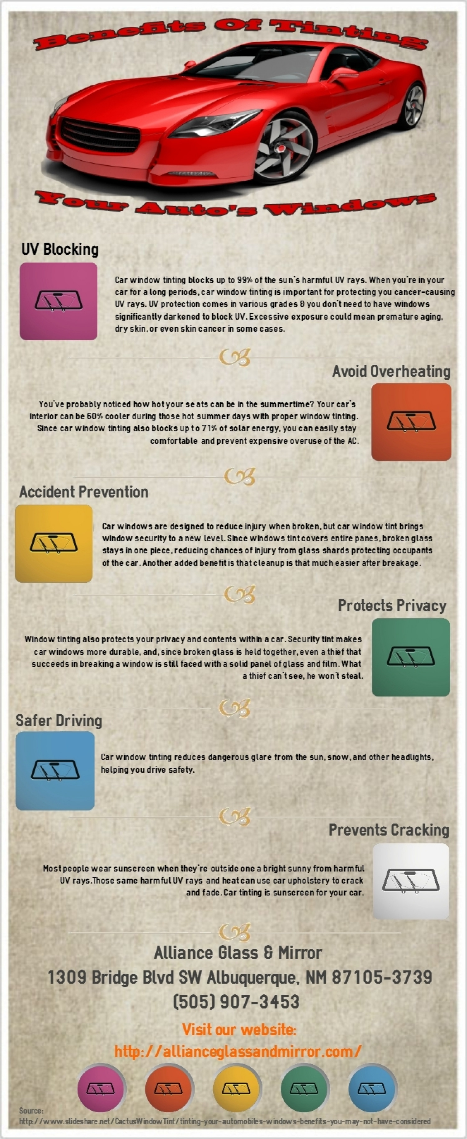 Benefits to Tinting Your Auto's Windows Infographic