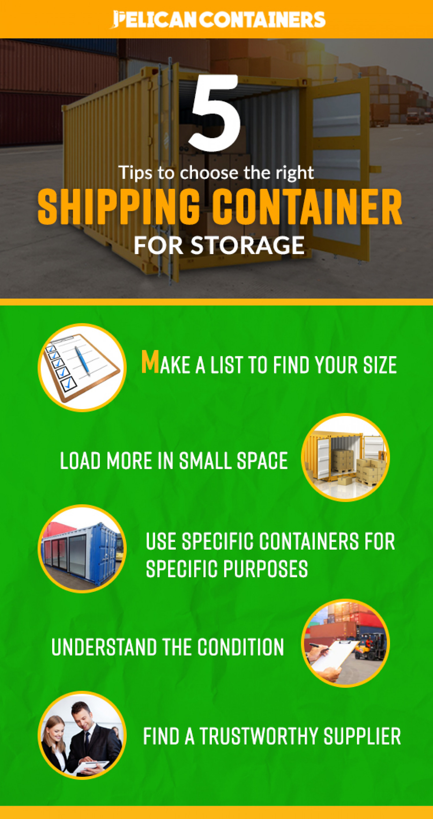 Best 5 Tips To Choose The Right Shipping Container for Storage Infographic