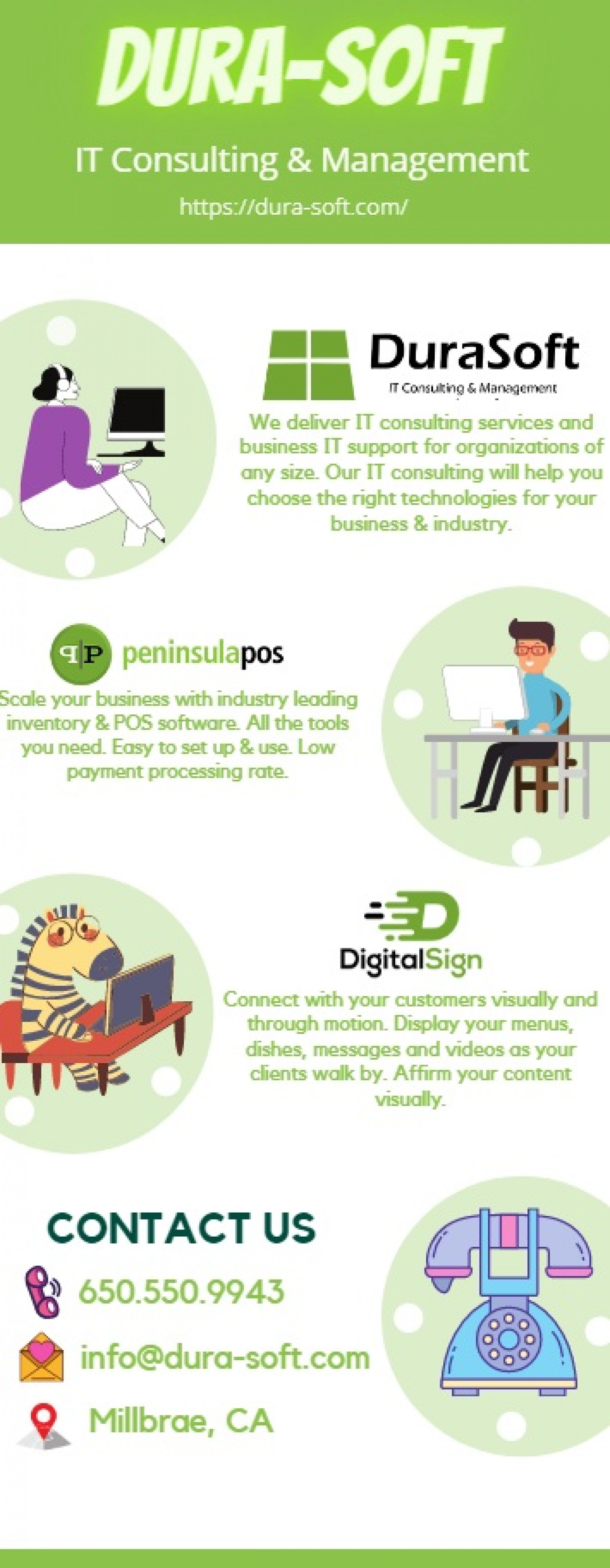 Best digital signage solutions in Millbrae, CA, USA Infographic