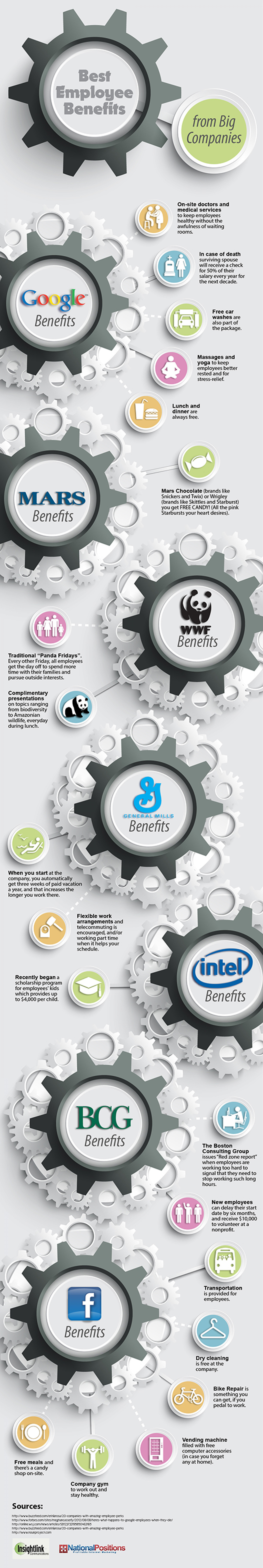 Best Employee Benefits From Big Companies Infographic