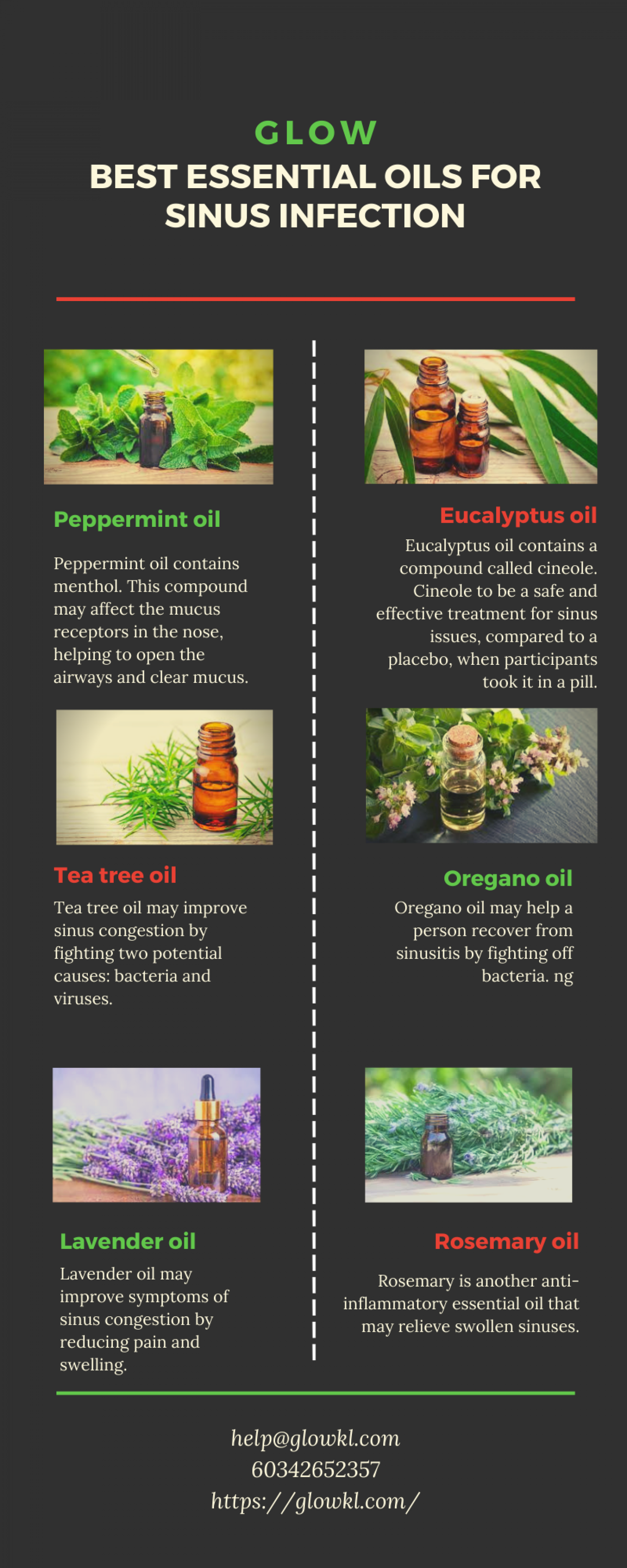 Best Essential Oil for the Sinus Infection – Glow Infographic