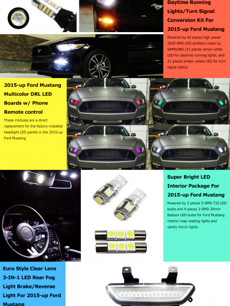 Best Lighting Mods for 2015-up Ford Mustang Infographic