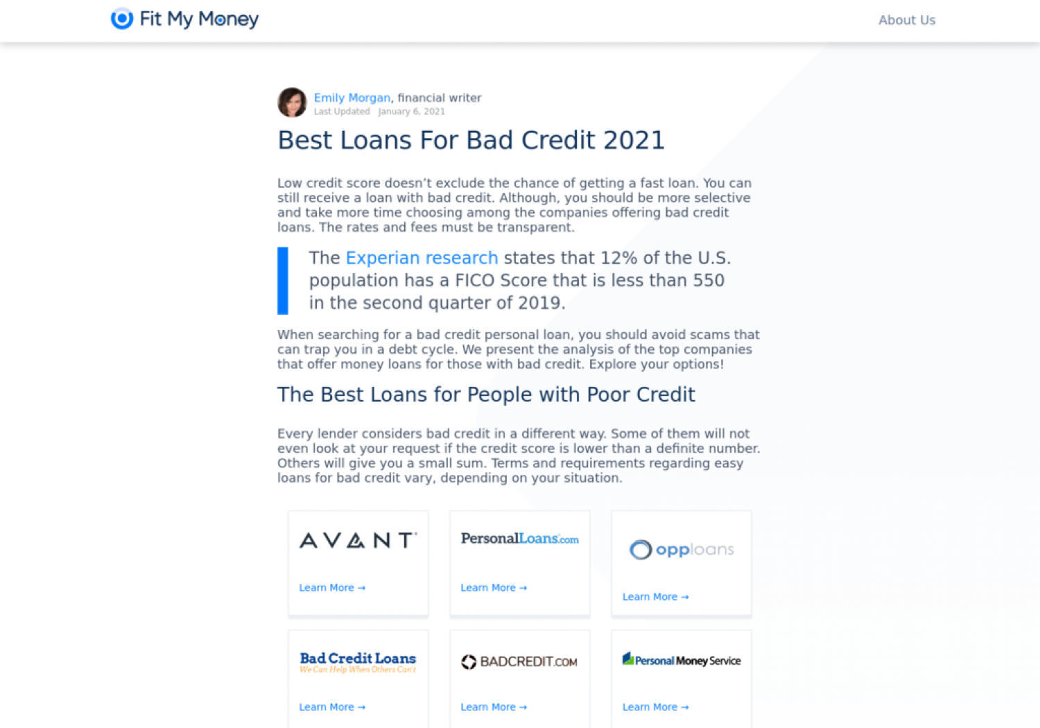 Best Loans For Bad Credit 2021 Infographic