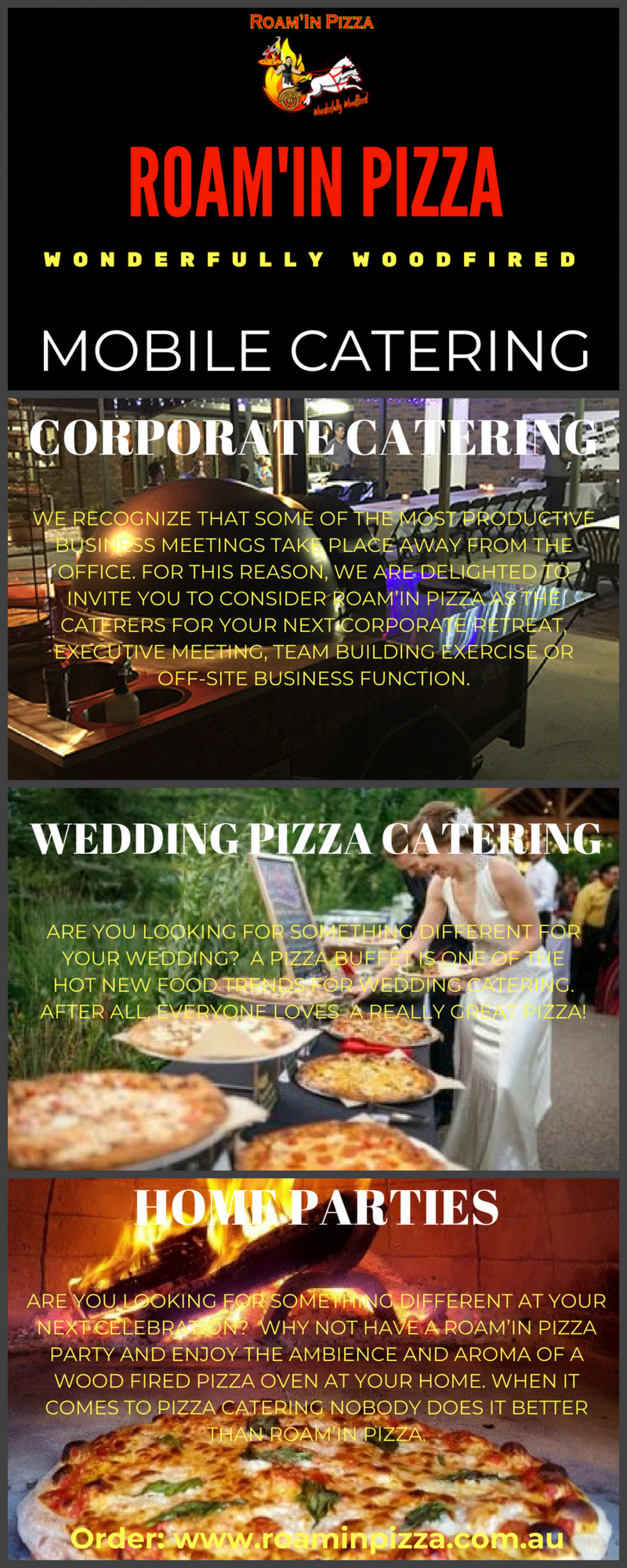 Best mobile pizza catering Brisbane - Roam'in Pizza Infographic