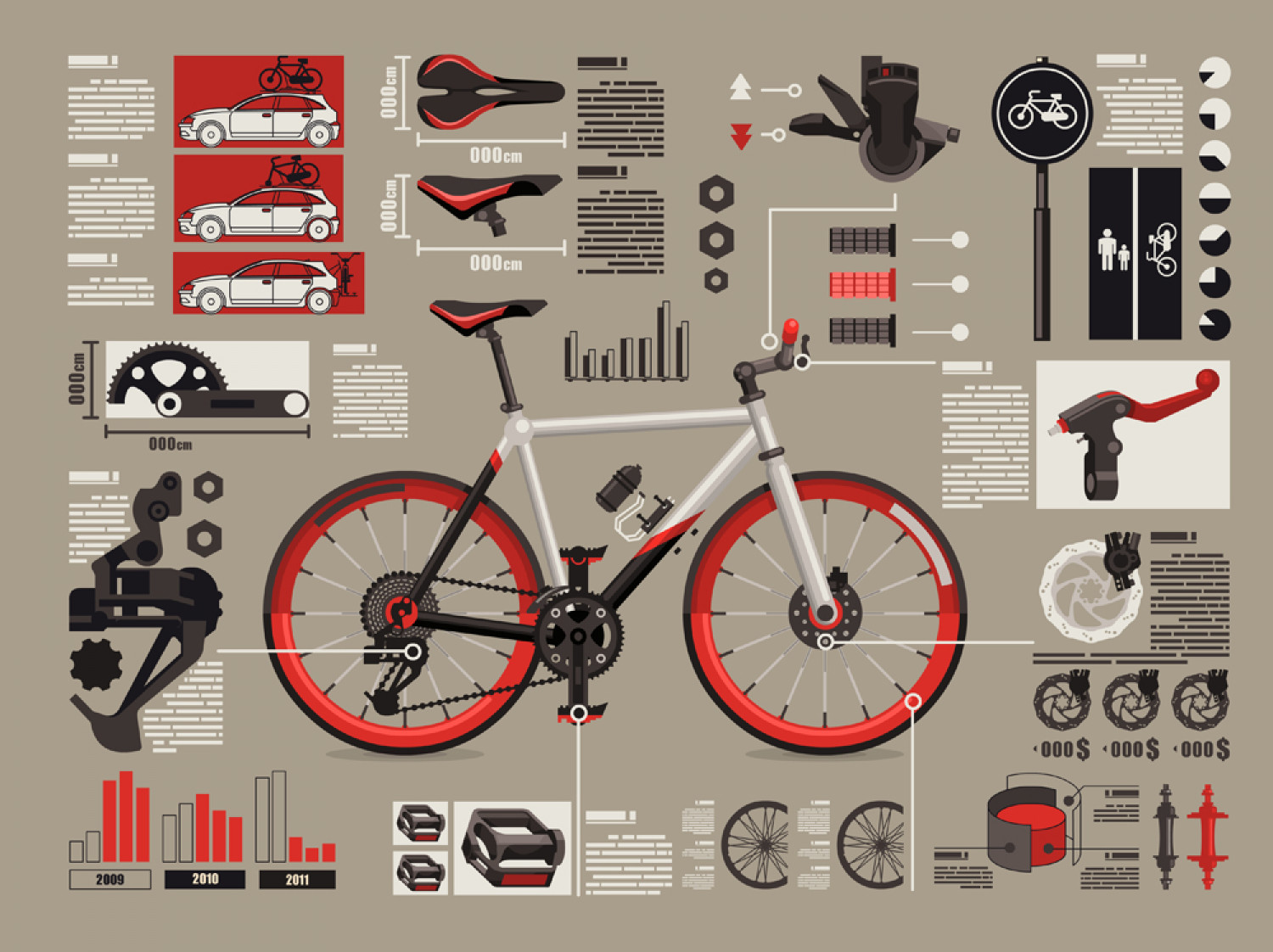 Bike elements Infographic