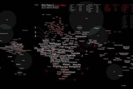Birth & Death Rate Word Map Infographic