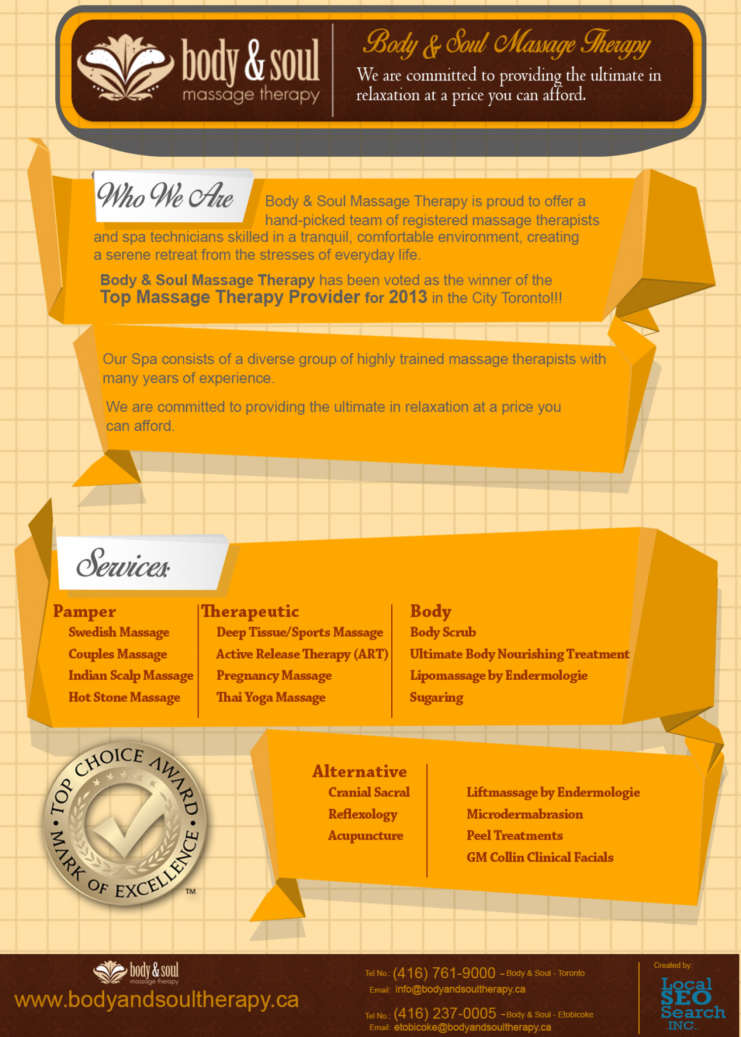Body & Soul Massage Therapy Infographic
