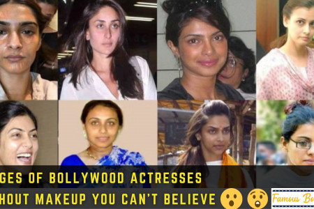 Bollywood Actresses Without Makeup Infographic