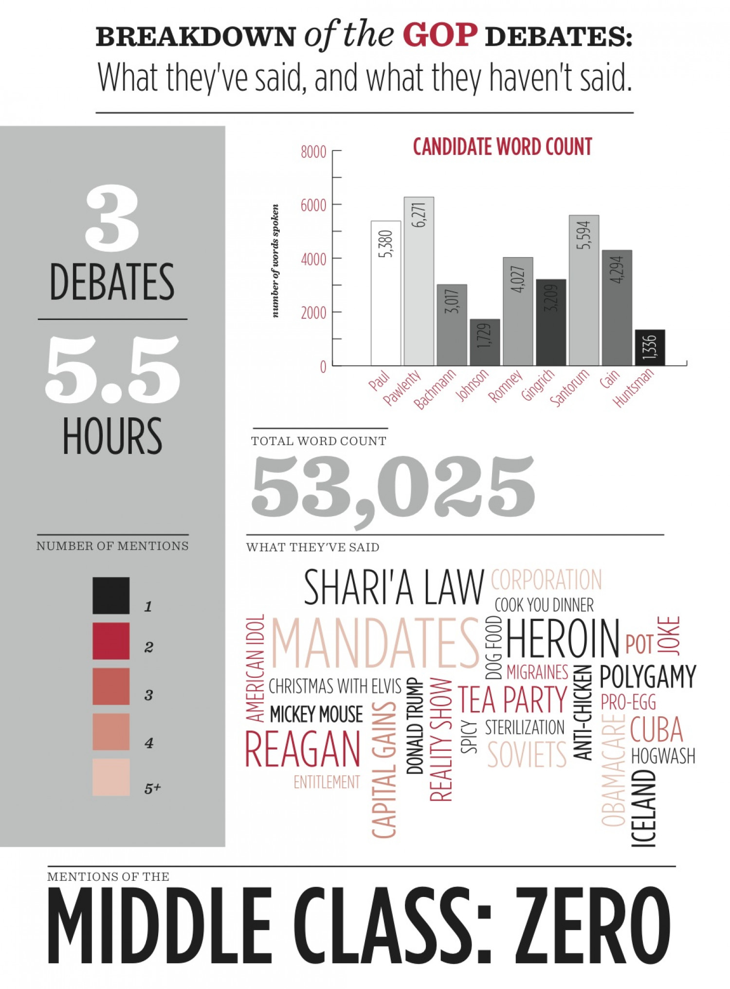 Breakdown of the GOP Debates: What They've Said and What They Haven't Said  Infographic