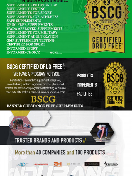 BSCG Supplement Certification and Testing Company Infographic