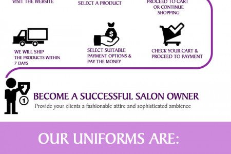 Build new identity for your salon with Capes by Sheena's Salon Uniforms Infographic