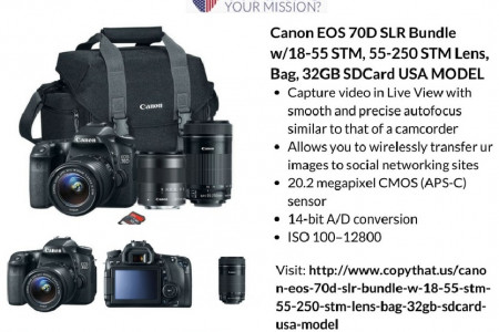 Buy Canon EOS 70D SLR Bundle w/18-55 STM, 55-250 STM Lens, Bag, 32GB SD Card USA MODEL Infographic