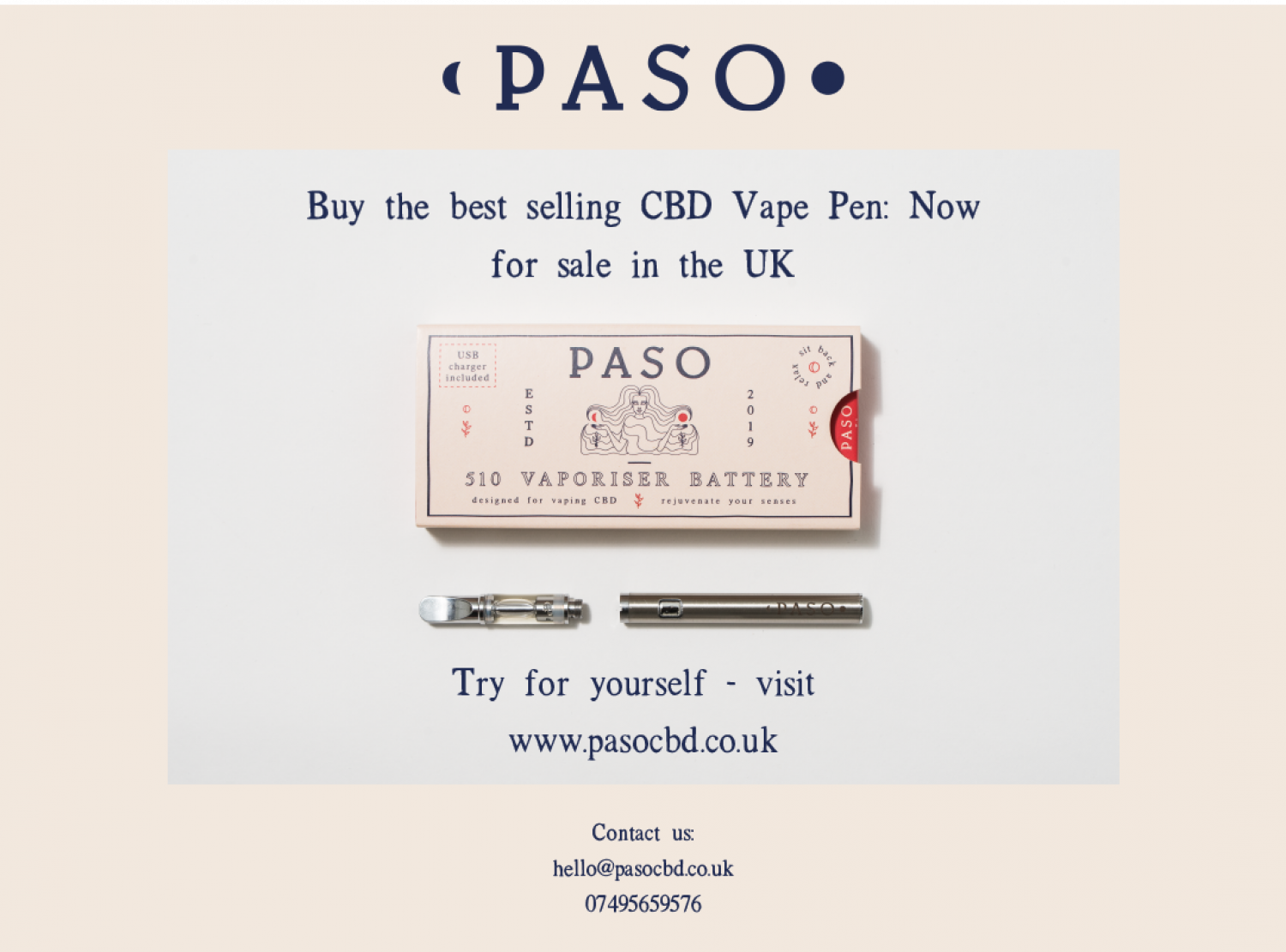Buy the best selling Paso CBD Vape Pen: Now for sale in the UK Infographic